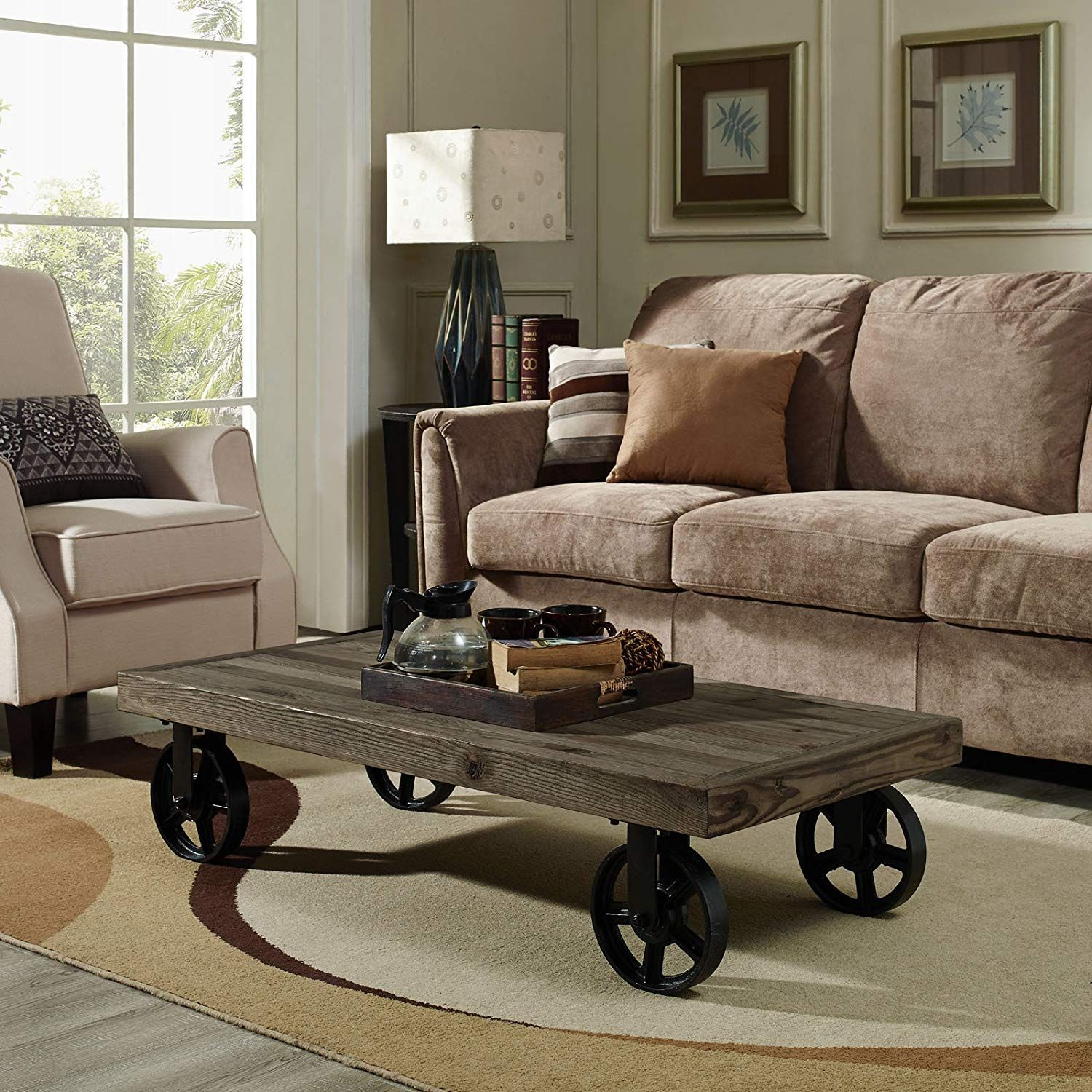 Details about Coffee Table with Wheels Retro Industrial Metal Wood Top  Living Room Furniture