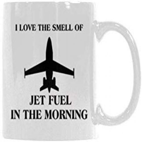 """/""""I Love the Smell of Jet Fuel in the Morning/"""" Black Aviation Coffee Mug"""